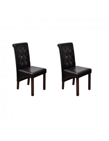 Valgomojo kėdės, 2 vnt., dirbtinė oda, rudos    Virtuvės ir Valgomojo Kėdės   duodu.lt