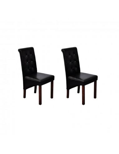 Valgomojo kėdės, 2 vnt., dirbtinė oda, juodos  | Virtuvės ir Valgomojo Kėdės | duodu.lt
