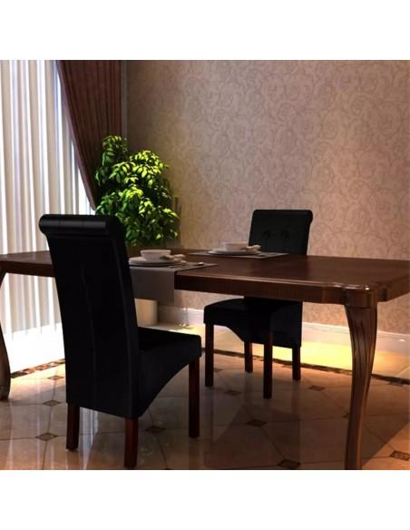 Valgomojo baldų komplektas, 7d., juodas, dirbtinė oda  | Virtuvės ir Valgomojo Baldų Komplektai | duodu.lt
