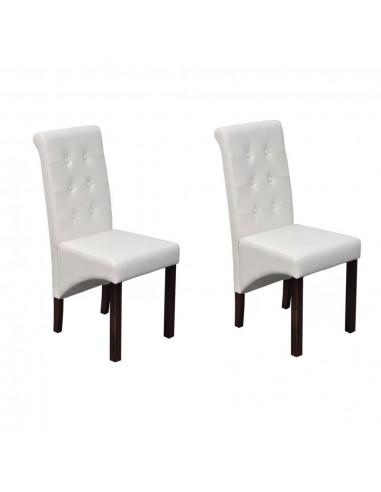 Valgomojo kėdės, 2 vnt., dirbtinė oda, baltos  | Virtuvės ir Valgomojo Kėdės | duodu.lt