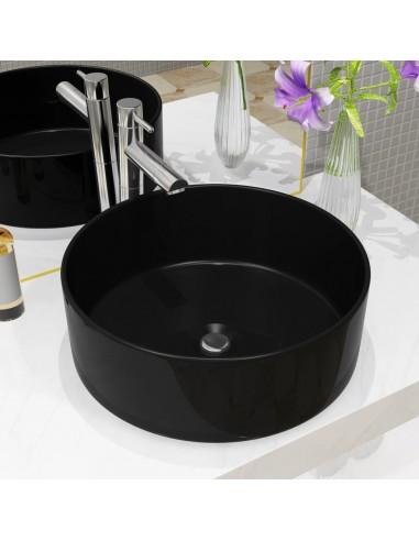 Praustuvas, apvalus, keramika, juodas, 40x15cm   Vonios praustuvai   duodu.lt