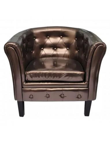 Fotelis, dirbtinė oda, rudas  | Foteliai, reglaineriai ir išlankstomi krėslai | duodu.lt