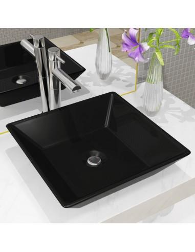 Praustuvas, keramika, kvadratinis, juodas, 41,5x41,5x12cm   Vonios praustuvai   duodu.lt