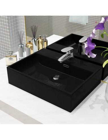 Praustuvas su anga maišyt., keramika, juodas, 51,5x38,5x15 cm  | Vonios praustuvai | duodu.lt