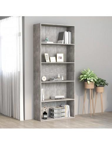 Spintelė knygoms, 5 lentynos, betono pilka, 80x30x189cm, MDP   Knygų Spintos ir Pastatomos Lentynos   duodu.lt
