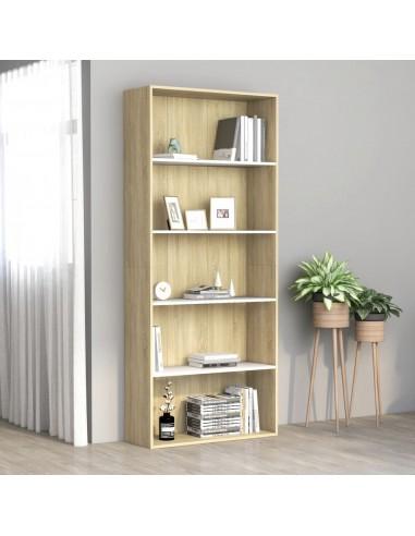 Spintelė knygoms, 5 lentynos, balta ir ąžuolo, 80x30x189cm, MDP   Knygų Spintos ir Pastatomos Lentynos   duodu.lt