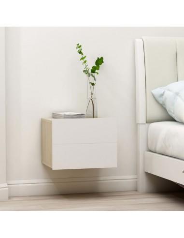 Naktinė spintelė, baltos ir ąžuolo spalvos, 40x30x30cm, MDP | Naktiniai Staliukai | duodu.lt