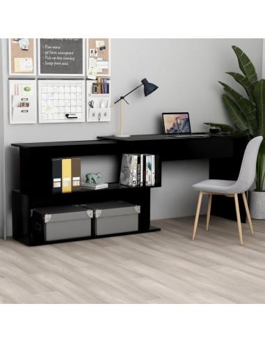 Kampinis rašomasis stalas, juodas, 200x50x76cm, MDP | Rašomieji Stalai | duodu.lt