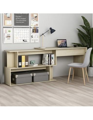 Kampinis rašomasis stalas, ąžuolo spalvos, 200x50x76cm, MDP | Rašomieji Stalai | duodu.lt