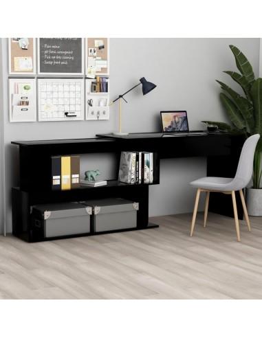 Kampinis rašomasis stalas, juodas, 200x50x76cm, MDP, blizgus | Rašomieji Stalai | duodu.lt