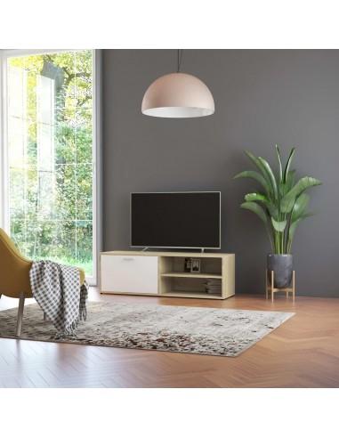 Televizoriaus spintelė, balta ir ąžuolo, 120x34x37cm, MDP | Pramogų Centrai ir TV Stovai | duodu.lt