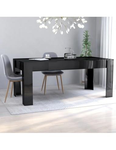 Valgomojo stalas, juodas, 180x90x76cm, MDP, ypač blizgus | Virtuvės ir Valgomojo Stalai | duodu.lt