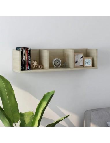Sieninė lentyna kompaktiniams diskams, ąžuolo, 75x18x18cm, MDP | Sieninės lentynos ir atbrailos | duodu.lt