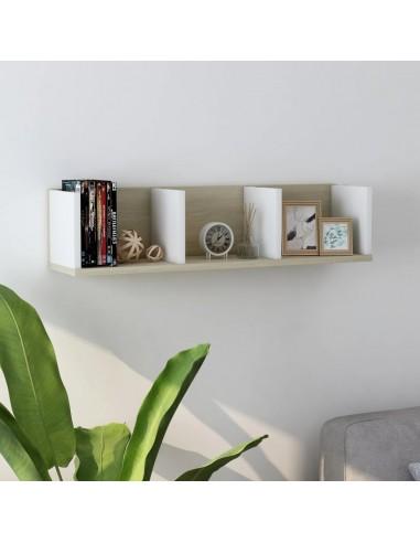 Sieninė CD lentyna, baltos ir ąžuolo spalvos, 75x18x18cm, MDP   Sieninės lentynos ir atbrailos   duodu.lt