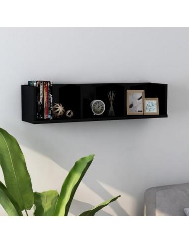 Sieninė lentyna kompaktiniams diskams, juoda, 75x18x18cm, MDP | Sieninės lentynos ir atbrailos | duodu.lt