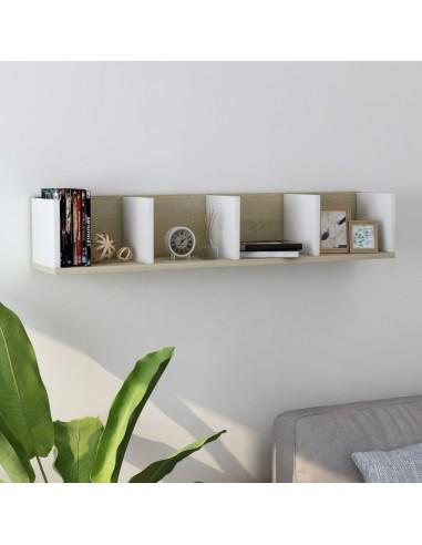 Lentyna kompaktiniams diskams, ąžuolo/balta, 100x18x18cm, MDP | Sieninės lentynos ir atbrailos | duodu.lt