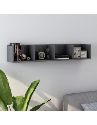 Sieninė lentyna kompaktiniams diskams, pilka, 100x18x18cm, MDP | Sieninės lentynos ir atbrailos | duodu.lt