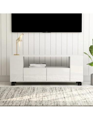 Televizoriaus spintelė, balta, 120x35x43cm, MDP, ypač blizgi   Pramogų Centrai ir TV Stovai   duodu.lt