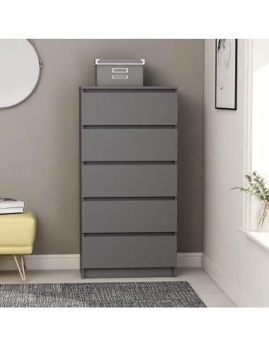 Šoninė spintelė su stalčiais, pilkos spalvos, 60x35x121cm, MDP | Bufetai ir spintelės | duodu.lt