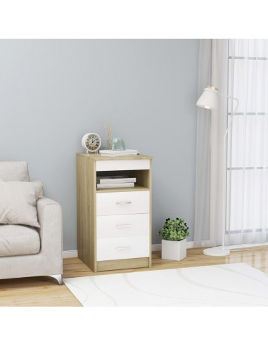 Spintelė su stalčiais, balta ir ąžuolo, 40x50x76cm, MDP | Spintos ir biuro spintelės | duodu.lt
