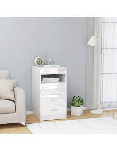 Spintelė su stalčiais, balta, 40x50x76cm, MDP, ypač blizgi | Spintos ir biuro spintelės | duodu.lt