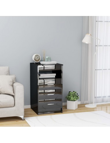 Spintelė su stalčiais, juoda, 40x50x76cm, MDP, ypač blizgi | Spintos ir biuro spintelės | duodu.lt