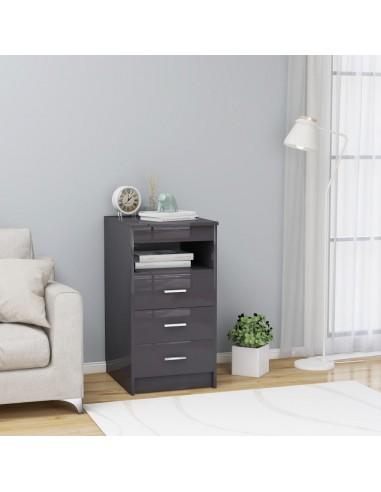 Spintelė su stalčiais, pilka, 40x50x76cm, MDP, ypač blizgi   Spintos ir biuro spintelės   duodu.lt