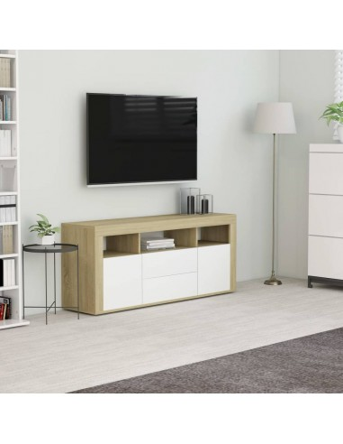 Televizoriaus spintelė, balta ir ąžuolo, 120x30x50cm, MDP | Pramogų Centrai ir TV Stovai | duodu.lt