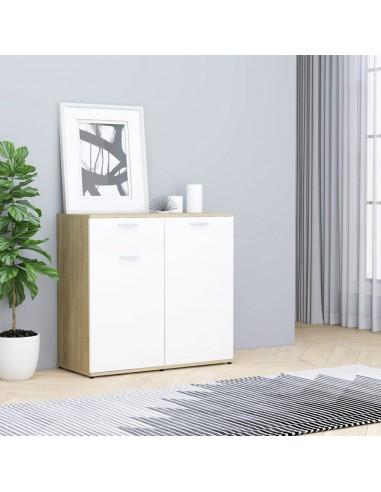 Šoninė spintelė, baltos ir ąžuolo spalvos, 80x36x75cm, MDP | Bufetai ir spintelės | duodu.lt