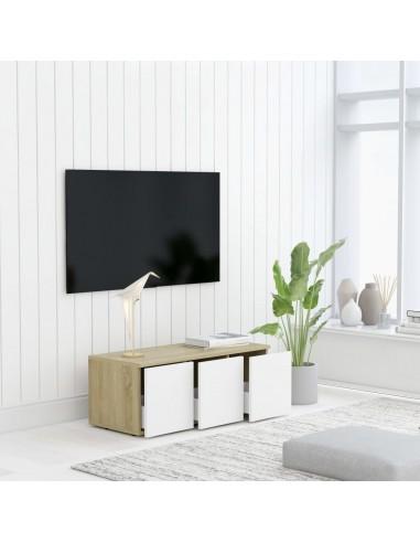 Televizoriaus spintelė, balta ir ąžuolo, 80x34x30cm, MDP | Pramogų Centrai ir TV Stovai | duodu.lt