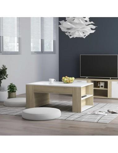 Kavos staliukas, baltos ir ąžuolo spalvos, 100x60x42cm, MDP | Kavos Staliukai | duodu.lt