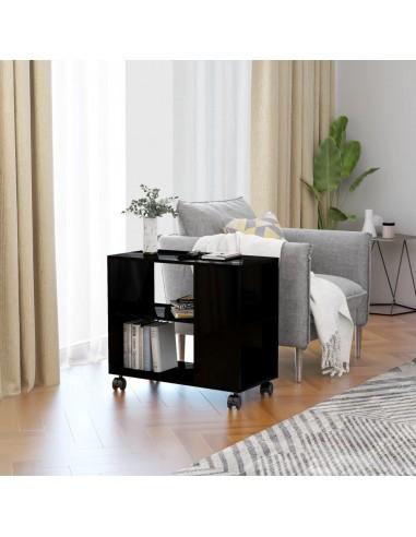 Šoninis staliukas, juodas, 70x35x55cm, MDP, ypač blizgus | Žurnaliniai Staliukai | duodu.lt