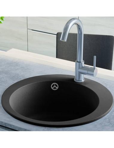 Virtuvinė plautuvė, granitas, vieno dubens, apvali, juoda  | Virtuvės ir Ūkinės Paskirties Plautuvės | duodu.lt
