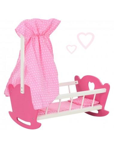 Žaislinė lovytė lėlei su skliautu, rožinė, 50x34x60cm, MDF | Aksesuarai lėlėms ir modeliukams | duodu.lt