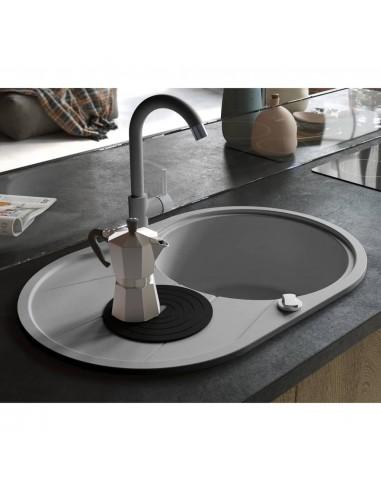 Virtuvinė plautuvė, granitas, vieno dubens, ovali, pilka  | Virtuvės ir Ūkinės Paskirties Plautuvės | duodu.lt