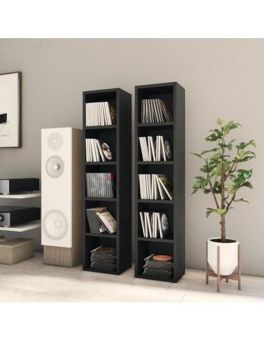Spintelės kompaktiniam diskam, 2vnt., juodos, 21x16x93,5cm, MDP | Multimedijos spintelės ir laikikliai | duodu.lt