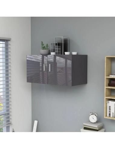 Prie sienos montuojama spintelė, pilka, 80x39x40cm, MDP, blizgi | Sieninės lentynos ir atbrailos | duodu.lt