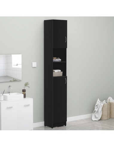 Vonios kambario spintelė, juoda, 32x25,5x190cm, fanera   Skalbyklių ir džiovyklių priedai   duodu.lt