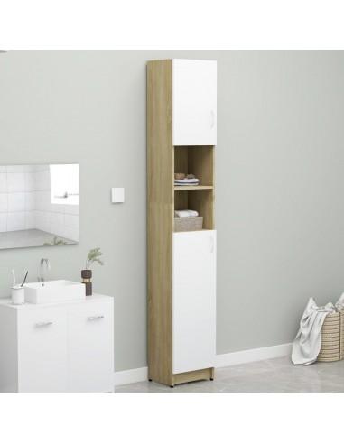 Vonios kambario spintelė, balta ir sonoma ąžuolo, 32x25,5x190cm, fanera    Skalbyklių ir džiovyklių priedai   duodu.lt