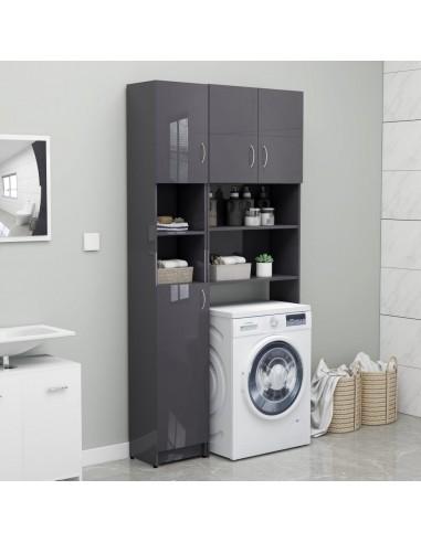 Vonios kambario spintelė, ypač blizgi pilka, 32x25,5x190cm, fanera  | Skalbyklių ir džiovyklių priedai | duodu.lt