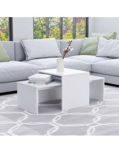 Kavos staliukų komplektas, baltas, 100x48x40cm, MDP | Kavos Staliukai | duodu.lt
