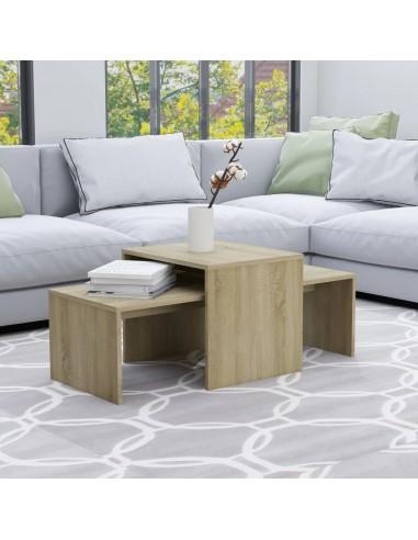Kavos staliukų komplektas, ąžuolo spalvos, 100x48x40cm, MDP | Kavos Staliukai | duodu.lt