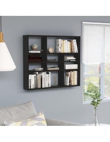 Sieninė lentyna, juodos spalvos, 90x16x78cm, MDP   Sieninės lentynos ir atbrailos   duodu.lt