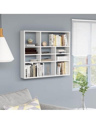 Sieninė lentyna, baltos spalvos, 90x16x78cm, MDP, ypač blizgi | Sieninės lentynos ir atbrailos | duodu.lt