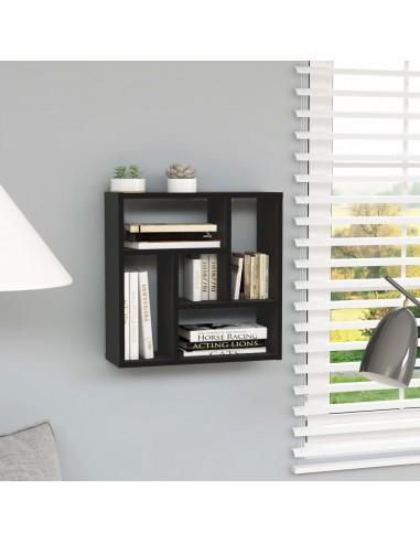 Sieninė lentyna, juodos spalvos, 45,1x16x45,1cm, MDP | Sieninės lentynos ir atbrailos | duodu.lt