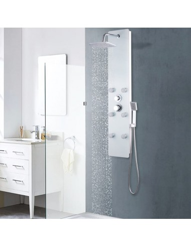 Dušo panelė, nerūd. plienas ir stiklas, 25x44,6x130cm, balta | Vonių ir dušų sistemos | duodu.lt