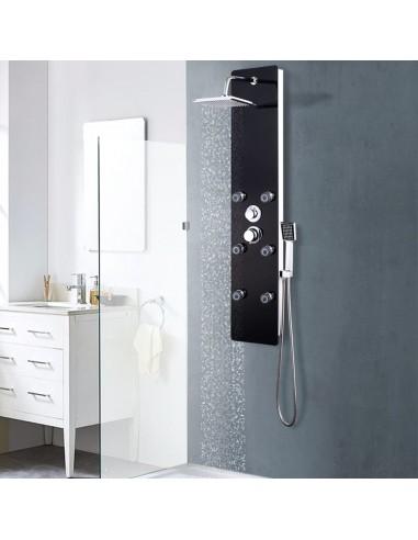 Dušo panelė, nerūd. plienas ir stiklas, 25x44,6x130cm, juoda | Vonių ir dušų sistemos | duodu.lt