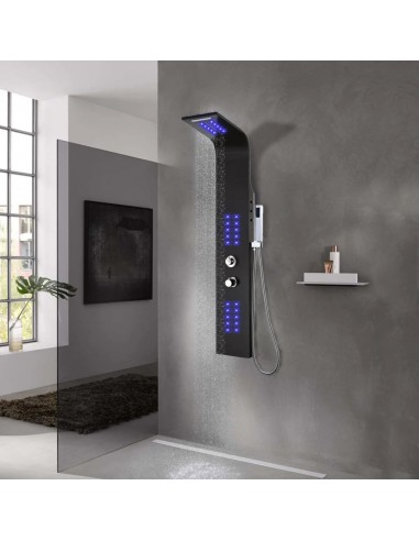 Dušo panelė, aliuminis, 20x44x130cm, juoda | Vonių ir dušų sistemos | duodu.lt