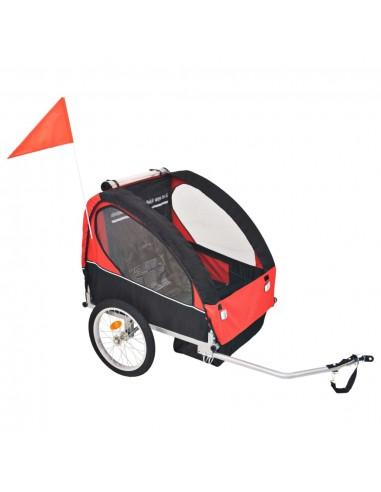 Vaikiška dviračio priekaba, raudona ir juoda, 30 kg | Dviračių Priekabos | duodu.lt