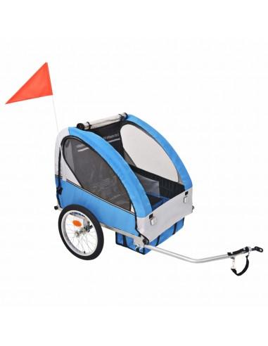 Vaikiška dviračio priekaba, pilka ir mėlyna, 30 kg | Dviračių Priekabos | duodu.lt